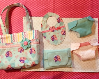 Little Girl's Play Diaper Bag with Accessories for 13 inch to 16 inch baby dolls