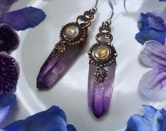 Amethyst Earrings - Veracruz Amethyst Earrings with Rainbow Moonstone - Dark Purple Veracruz Amethyst Rainbow Moonstone Earrings - Oneira