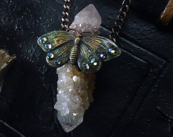 Spirit Quartz Necklace - Spirit Quartz Butterfly Necklace - Spirit Quartz Butterfly - Lavender Pink Fairy Spirit Quartz Necklace - Vlindara