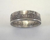 Coin Ring, New Guinea, 1935 One Shilling, Sterling Silver, size 7 1\/2