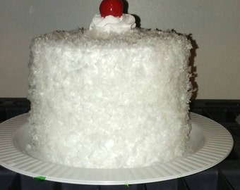 "6 x 6"" fake Fluffy Coconut Cake"