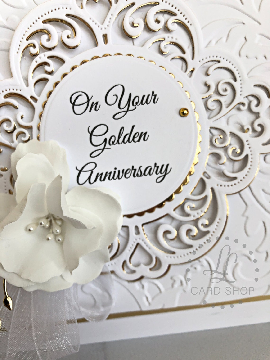 luxury 50th anniversary card gift for parents gold wedding