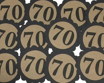 70th Birthday Favor Tags, 70, Scalloped Embellishments for DIY Cupcake Toppers,  Black and Kraft Brown, Set of 12
