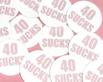40th Birthday Stickers - 40 SUCKS, Round 1 1/2 Inch Handmade Stickers, Pink, Set of 12