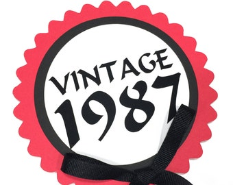 30th Birthday Topper, Vintage 1988, Black, Red and White or Choice of Colors