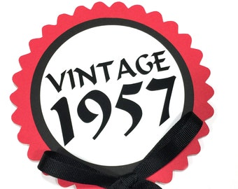 60th Birthday - Vintage 1958 - Cake Topper Decoration, Candy Pick, Black, Red and White or Your Choice of Colors