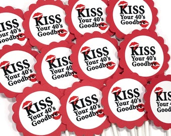 Kiss Your 40's Goodbye - 50th Birthday Cupcake Toppers - Red and White, Set of 12