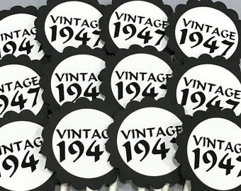 70th Birthday Cupcake Toppers - Vintage 1948, Black and White or Your Colors,  Set of 12