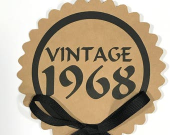 50th Birthday - Vintage 1968 Cake Topper Decoration, Candy Pick, Black and Kraft Brown or Your Choice of Colors