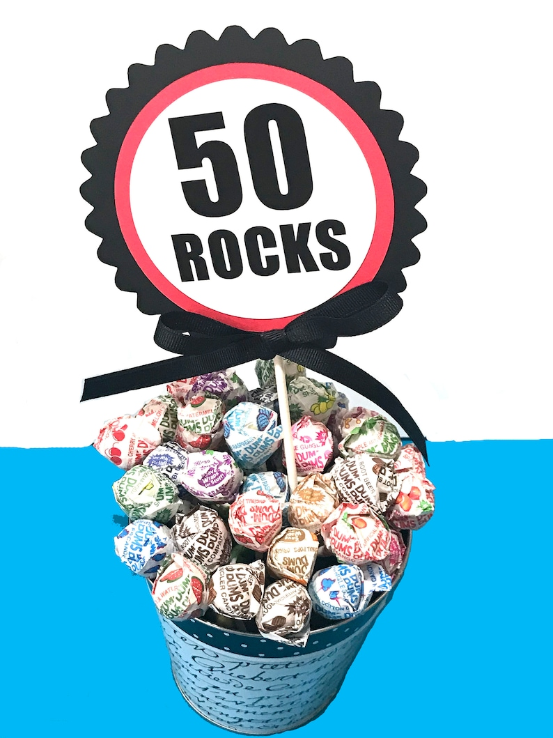 50th Birthday Topper Cake Decoration 50 Rocks Candy Pick Etsy