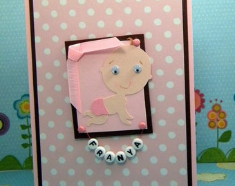 Personalized Baby Girl Card, Pink, Polka Dots