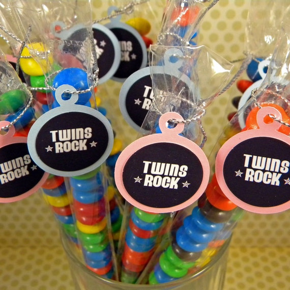 Twin Baby Shower Candy Treat Bag Favors Set Of 12 Pink And