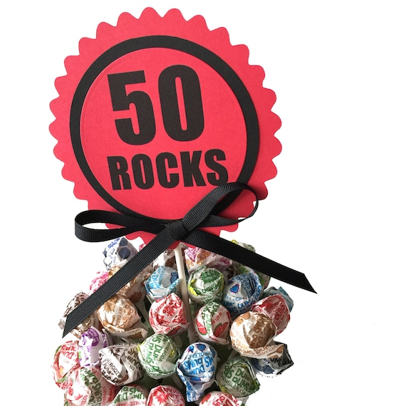 50th Birthday Cake Topper Decoration 50 Rocks Candy Pick Red And