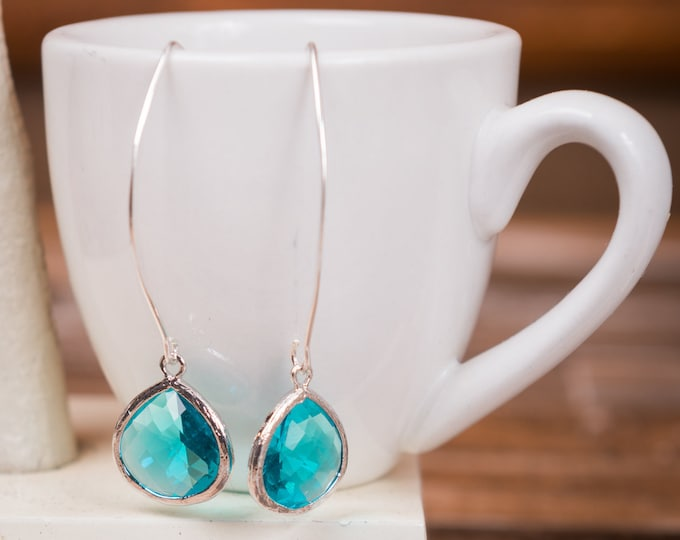 Silver Aquamarine drop earrings