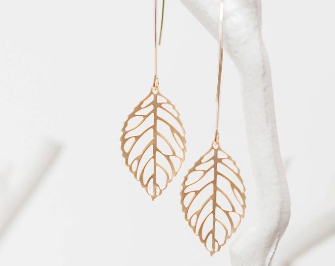 Matte gold drop leaf earrings