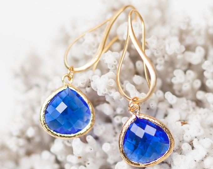 Cobalt blue Teardrop earrings in gold