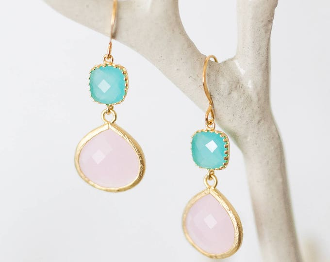 Pink and Blue drop earrings