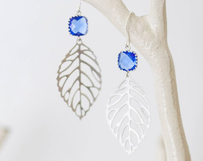 Cobalt blue leaf Earrings