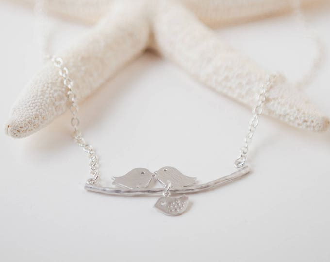 3 Silver lovebirds necklace