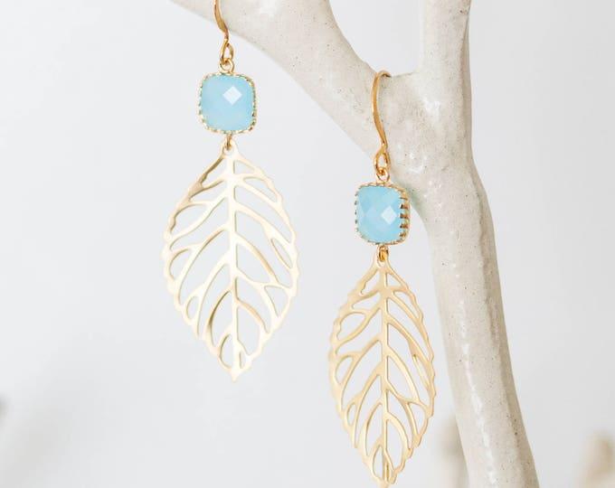 Gold Ocean blue leaf Earrings