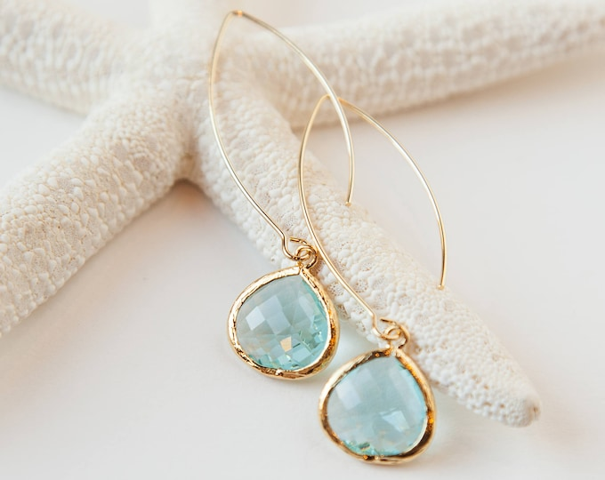 Gold Aquamarine drop earrings