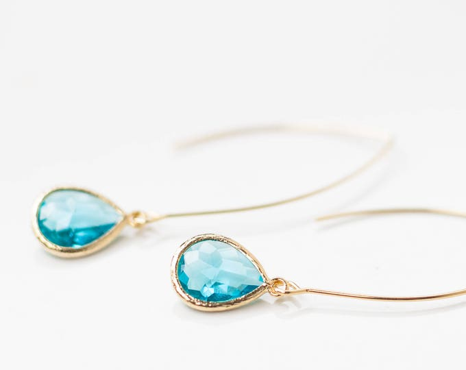 Gold Teardrop aquamarine earrings