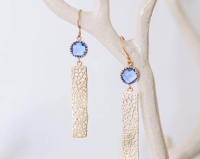Cobalt blue gold bar earrings