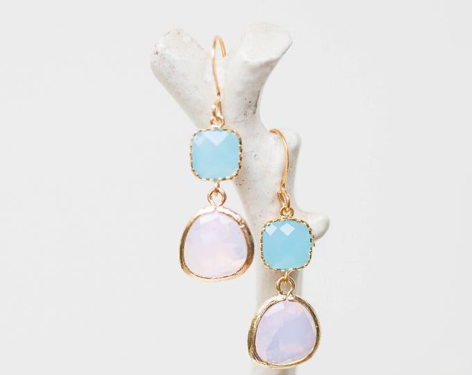 Matte gold opal and ocean blue glass dangle earrings