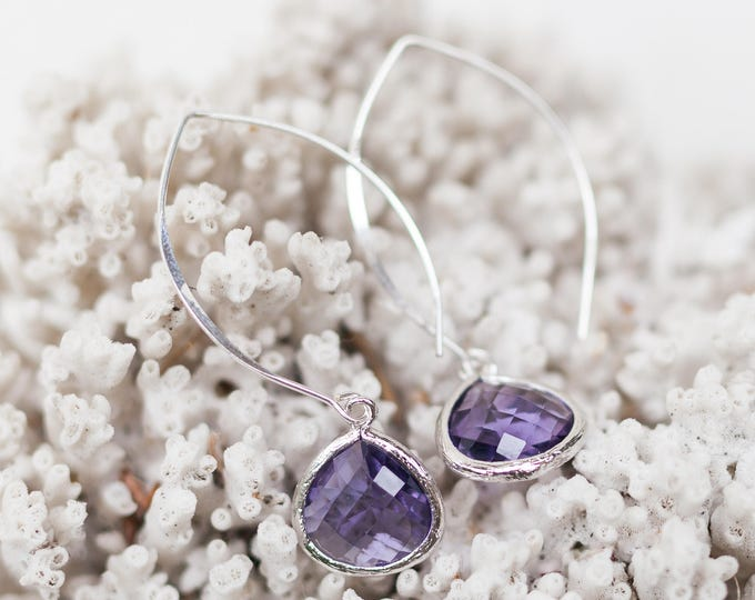 Sterling Silver lavender teardrop earrings