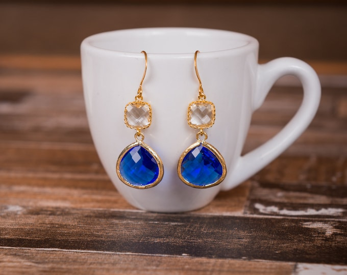 Gold cobalt blue and crystal drop earrings