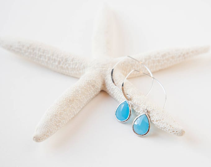 Silver Ocean Blue drop earrings