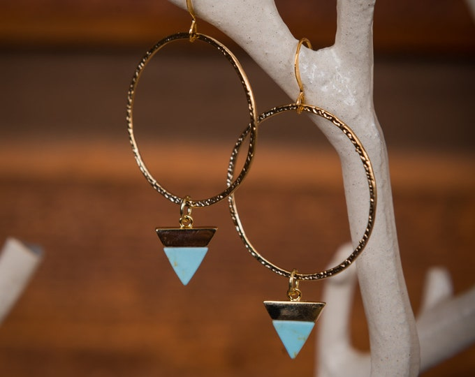 Turquoise gold hoop earrings