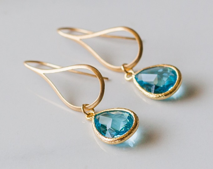 Gold Teardrop aquamarine glass earrings