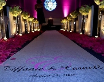 Wedding Aisle Runner With Handpainted Monogram- OTHER SIZES AVAILABLE- Free Monogram Included
