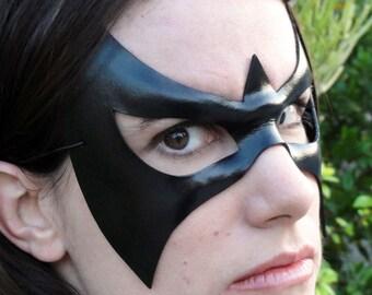 Masquerade mask - superhero costume - Nightfall - black leather mask - fast shipping
