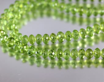 Faceted Peridot Rondelle Beads - Full Strand - Peridot Beads - 4 to 6mm