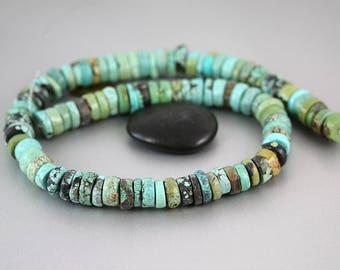 Turquoise Heishi Beads - Wheels - Chinese Turquoise Beads- Full Strand