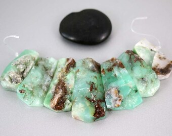 Chrysoprase Collar Beads - Set of 7 - Rough Plates - Chrysoprase Beads - 34 to 45mm