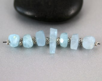 Aquamarine Gemstone Beads - Set of 7 - Aquamarine Beads - Nuggets