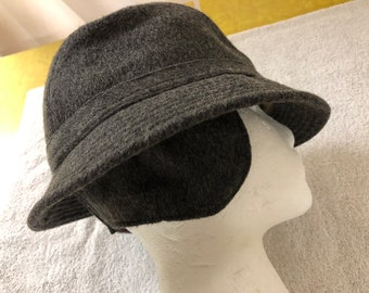 3e4dfb91d15c4 Vintage orginal Loden gray wool earflap hat fedora style with brim and wool  lined earflap one piece all wool lined wool Med