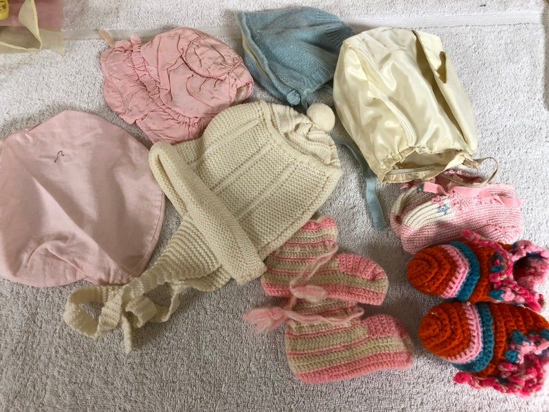 314de7819bf11 Vintage lot 8 baby infant bonnets/booties, 4 bonnets silk/other, pink, blue  ivory, pink tam hat, 3 pair booties newborn/baby