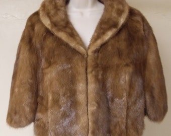 Vintage golden brown genuine mink short cape, pockets, hem slits, rounded collar