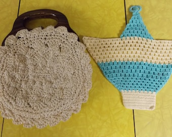 2 vintage purses - crocheted may basket style purse/container and round woven purse with brown clutch handle
