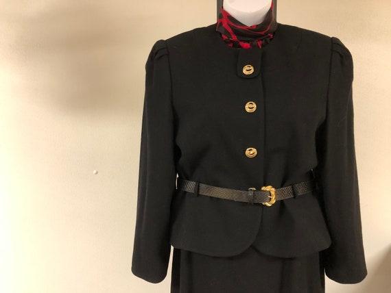 3 pc vtg black skirt suit, gold buttons black jack