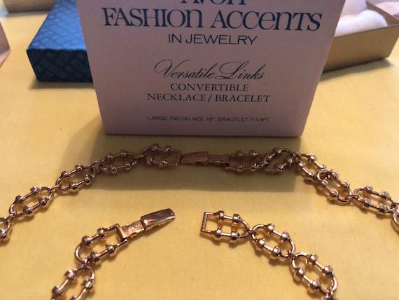 Avon  original boxes Shimmering Loop snakeVersatile Links wrapped large link gold tones 2 vintage 70s chainsnake necklacebracelet sets