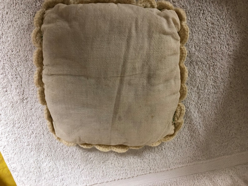 8 x 8 decorative handmade pillow 36 x 26 infantbaby size thick wool knit ivory shade Vintage home made handmade heavy wool blanket