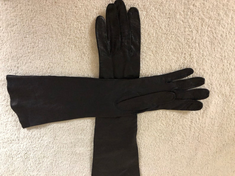 Vintage T A Chapman Co genuine leather gloves unlined dark blue 14 made in France size 6-6 /& 12