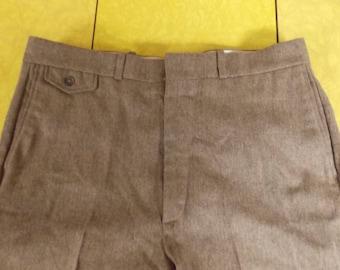 "Wm F Farah vintage pants, men's slacks, 2 pair, unlined wool, one brown fleck, one gray fleck, 34 x 31/32"""