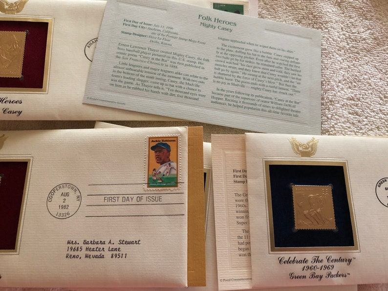 Jackie Robinson Jim Thorpe Knute Rockne Casey Lot 9 USPS postage collectibles stampenvelopegold tone replica Green Bay Packers