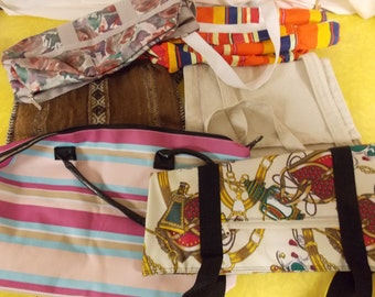 Lot of Vintage totes/sack purse/carry all Lesportsac & other, variety 6 larger size